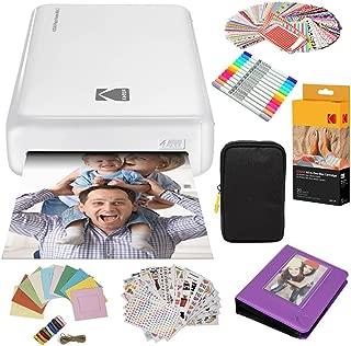 Kodak Mini2 Instant Photo Printer (White) Gift Bundle + Paper (20 Sheets) + Deluxe Case + 7 Fun Sticker Sets + Twin Tip Markers + Photo Album + Hanging Frames