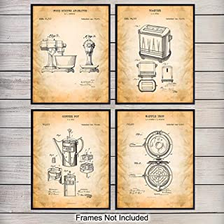 Kitchen Patent Art Prints - Vintage Retro Wall Art Poster Set - Chic Contemporary Home Decor - Great Housewarming Gift or Gift for Chefs, Cooks, Moms, Gourmet and Food Lovers - 8x10 Photo - Unframed