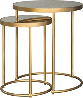 Signature Design by Ashley - Majaci Accent Tables - Nesting - Contemporary Glam - Goldtone Metal