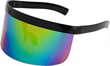 Elite Futuristic Oversize Shield Visor Sunglasses Flat Top Mirrored Mono Lens 172mm