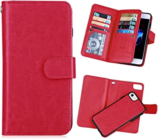 iPhone 7(4.7'') Wallet Case,iPhone 8 Wallet Case [KAIFX] PU Leather Folio Flip 9 Credit Card Slots Cash Holder Magnetic Flap Detachable Vintage Book Style Case for iPhone 7/8 (Red)