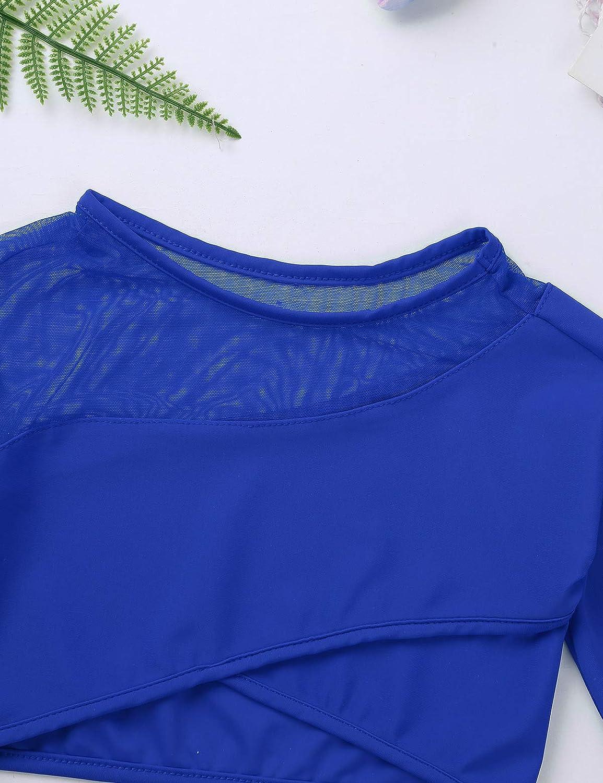 CHICTRY Girls Children Plain Turtleneck Long Sleeve Dance Sports Crop Top Shirt