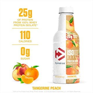 Dymatize ISO100 Clear 100% Whey Protein Isolate, Whey Protein Drink, 25g Protein, No Sugar & Low Carb, Keto Friendly, Ready-to-Drink & Fast Absorbing, Tangerine Peach, 16 Ounce (Pack of 12)