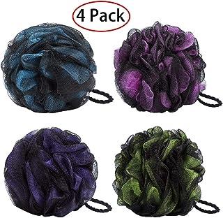 4 Pack Esponja de ducha de baño JollyJelly Malla de baño Loofahs Doble malla de cepillo de depurador corporal para mujeres Los hombres exfolian la piel limpia calmar la piel (Mix -4 Pack)
