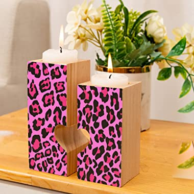 Candleholders Set of 2 Hot Pink Leopard Animal Printed Tealight Candle Holder Stand Tea Lights Wooden Candlestick Candles Ped