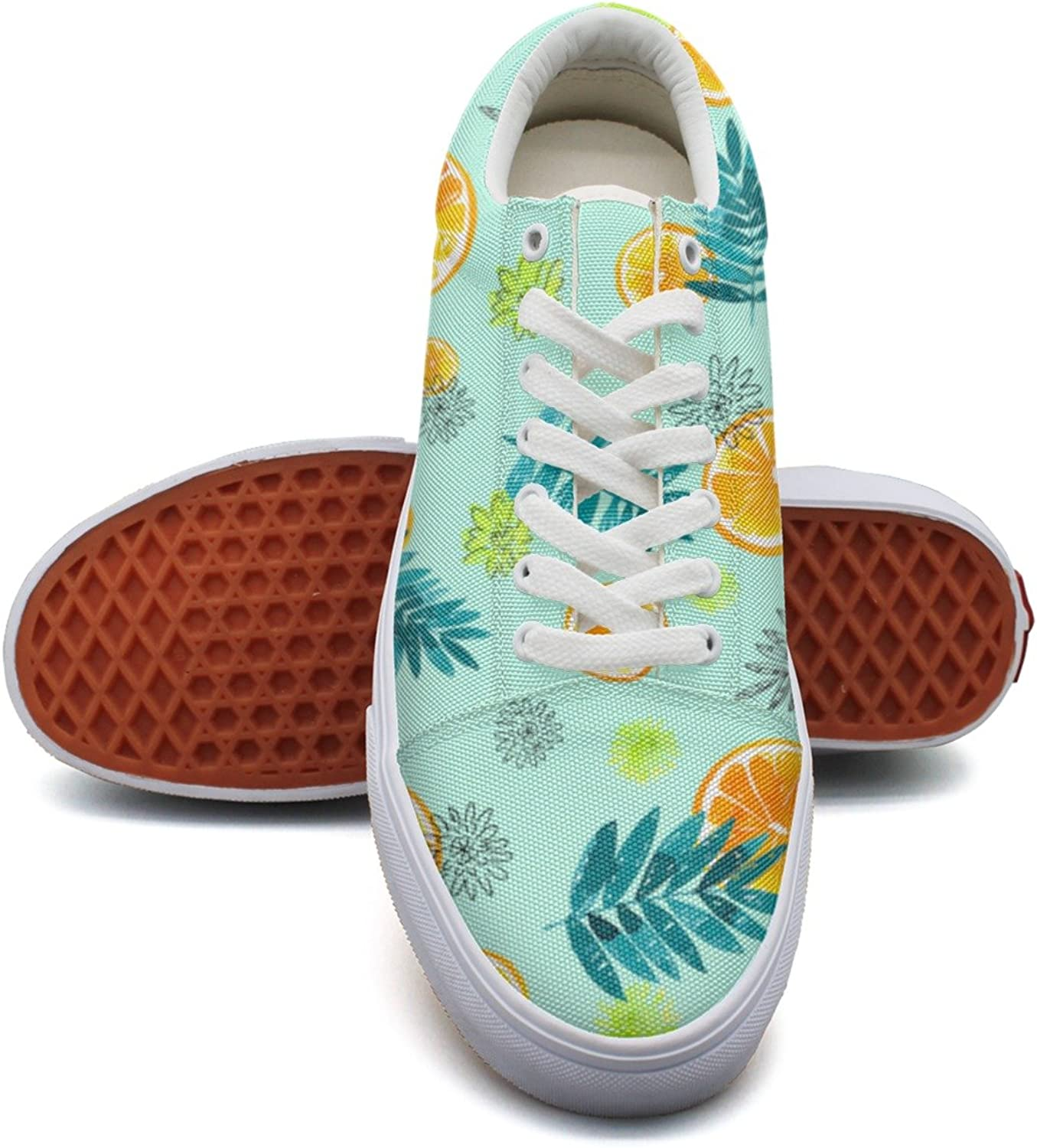 Summer Leaves orange Fashion Canvas Sneaker For Womns 3D Printed Low Top shoes
