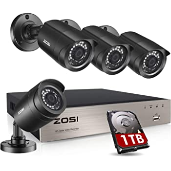 ZOSI Security Cameras System 8Channel 4-in-1 5MP Lite CCTV DVR Recorder with 1TB Hard Drive and (4) x1080P 1920TVL HD Weatherproof Surveillance Cameras with Night Vision, Motion Alert,Remote Access