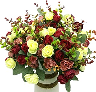 Grunyia Artificial Fake Flowers Silk Tiny Rose Flowers Wedding Bridal Bouquet Home Decoration,Pack of 4