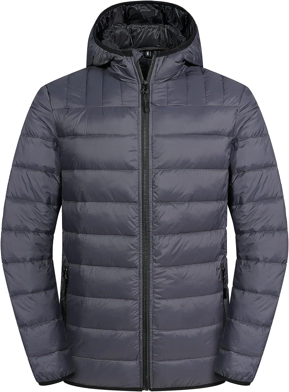 Men's Lightweight Puffer Jacket Hooded Water Resistant
