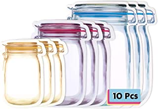 Hengu 10 Pièces Sac de Conservation Frais de Stockage, Sacs à Glissière Mason Jar Portable Réutilisable, Sacs à Collation ...