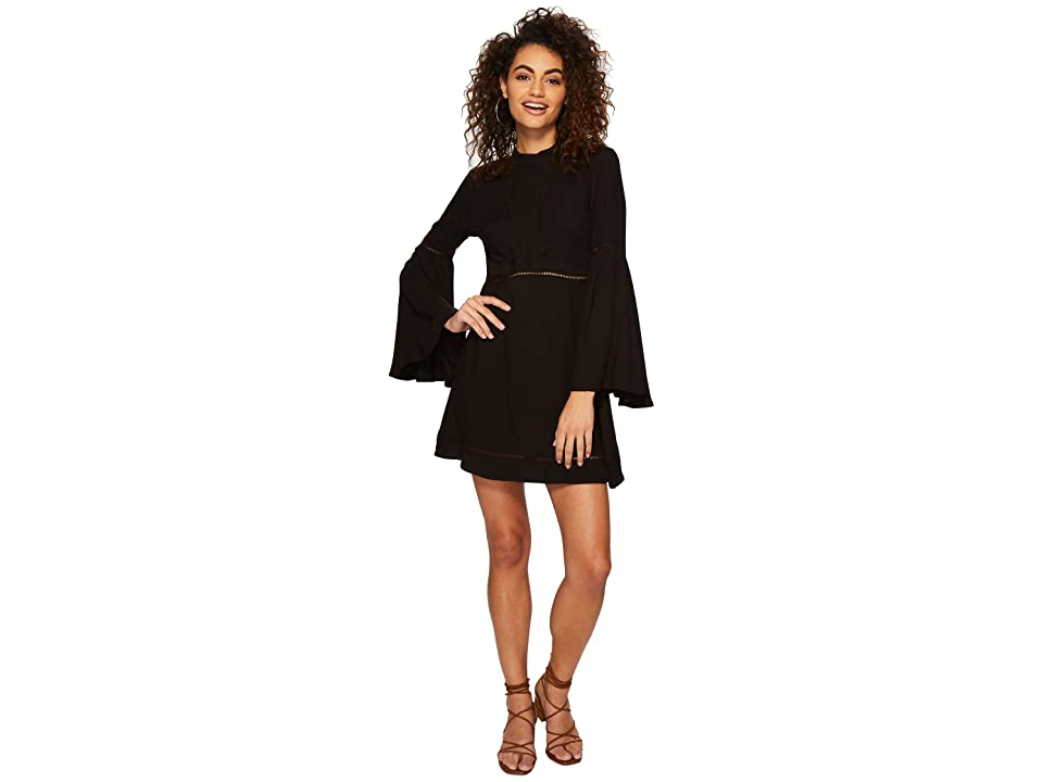 Jack by BB Dakota Charrelle Rayon Twill Dress with Ladder Tape Trim (Black) Women