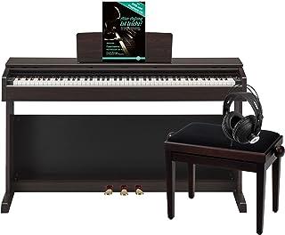 Yamaha YDP-143R Arius E-Piano Deluxe - Set de piano (incluye banco de piano, auriculares y libro de partituras con DVD de ejercicios y CD Playback), madera de rosa