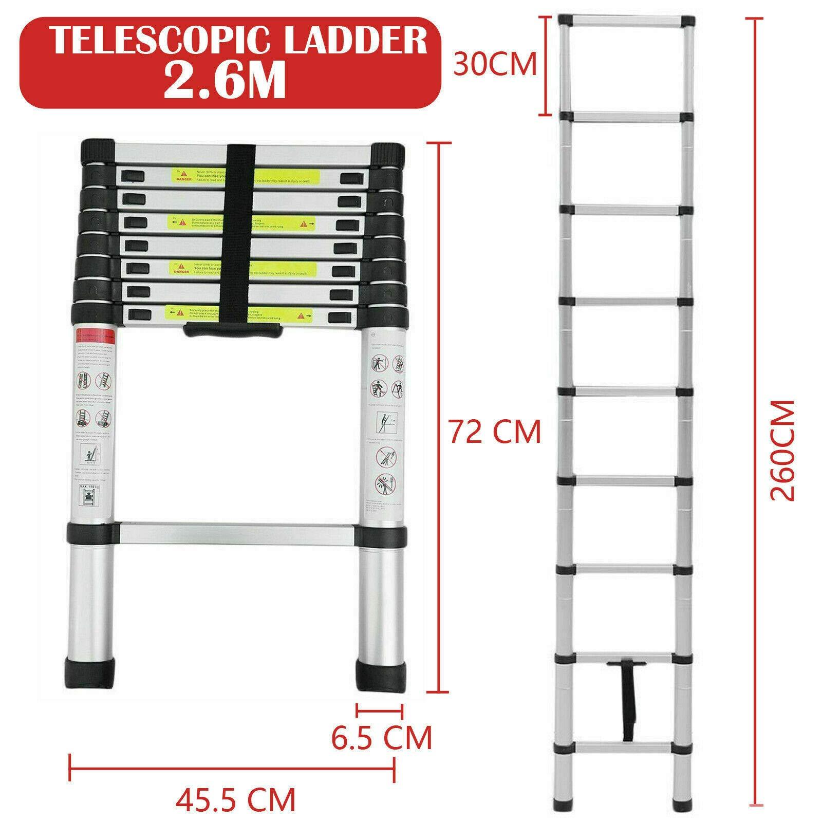 Escalera telescópica de 2,6 m de aluminio, ligera, portátil, extensible, plegable, multiusos, para casa, oficina, camión, interior y exterior: Amazon.es: Bricolaje y herramientas