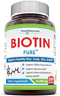 Pure Naturals Biotin Dietary Supplement - 10, 000 mcg - 200 Capsules - Supports Healthy Hair, Skin & Nails - Promotes Cell...