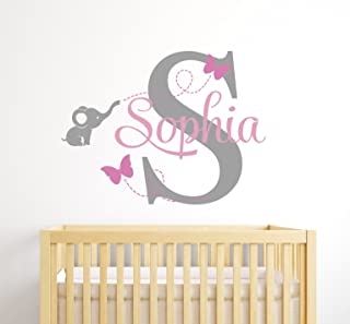 Custom Elephant Name Wall Decal for Girls - Baby Room Decor - Nursery Wall Decals - Elephant Wall Decor