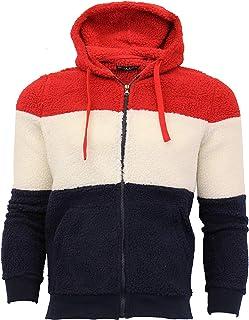 Brave Soul Mens Sherpa Fleece Borg Sweatshirt Over The Head Hooded Top Block New