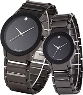 SINOBI 2 Pcs Watches for Couple Lovers Men's Lady Women Black Quartz Wrist Watch Watches Gifts Set