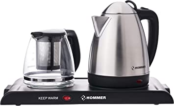 Hommer 1.2 Liter Kettle with Tea Maker, 1800 Watts - HSA222-01, Silver, Stainless Steel