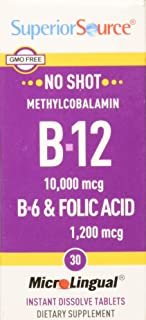 Superior Source No Shot Methylcobalamin B12/B-6/Folic Acid, 10,000 mcg/1200 mcg, 30 Count