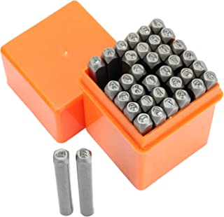 Suwimut 37 Pieces Letter and Number Metal Stamp Set, 1/8 Inch 3mm Alphabet A-Z and Number 0-9 and Symbol, Steel Punch Pres...