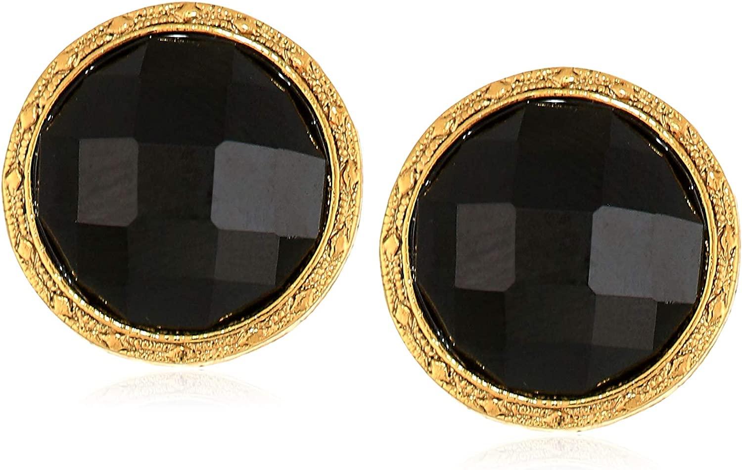 1928 Jewelry Women's Gold Tone Small Black Round Faceted Button Earrings, Black, One Size