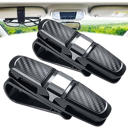 Amison Brillenhalter Für Auto Sonnenblende Clip 2 Stück Doppelt Sonnenbrille Brillenhalterung Mit Ticket Kartensteckplatz Silber Auto
