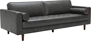 Amazon Brand – Rivet Aiden Mid-Century Leather Sofa with Tapered Wood Legs, 87W, Black
