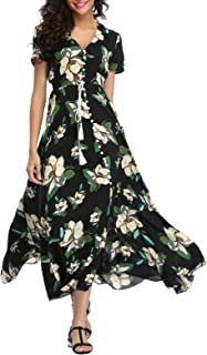 da1949cc09504 VintageClothing Women s Floral Maxi Dresses Boho Button Up Split Beach  Party Dress