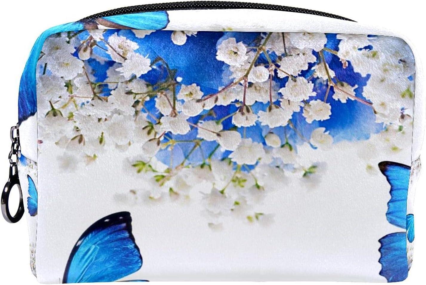 Makeup Toiletry Bag Purse Kansas City Mall Cosmetic Gypsophila Blue New sales Butterfl