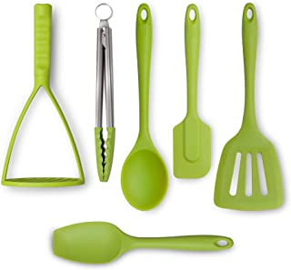 Zeal JSET47L Non-Stick Silicone Tongs, Turner, Spatula, Cooks Spoon, Spatula & Masher 6-Piece Set-Lime