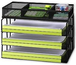 Rackarster Mesh Desktop Office Organizer - 3 Tier Stackable Desk Paper Organizer Letter Tray with File Organizer Sorter, Black