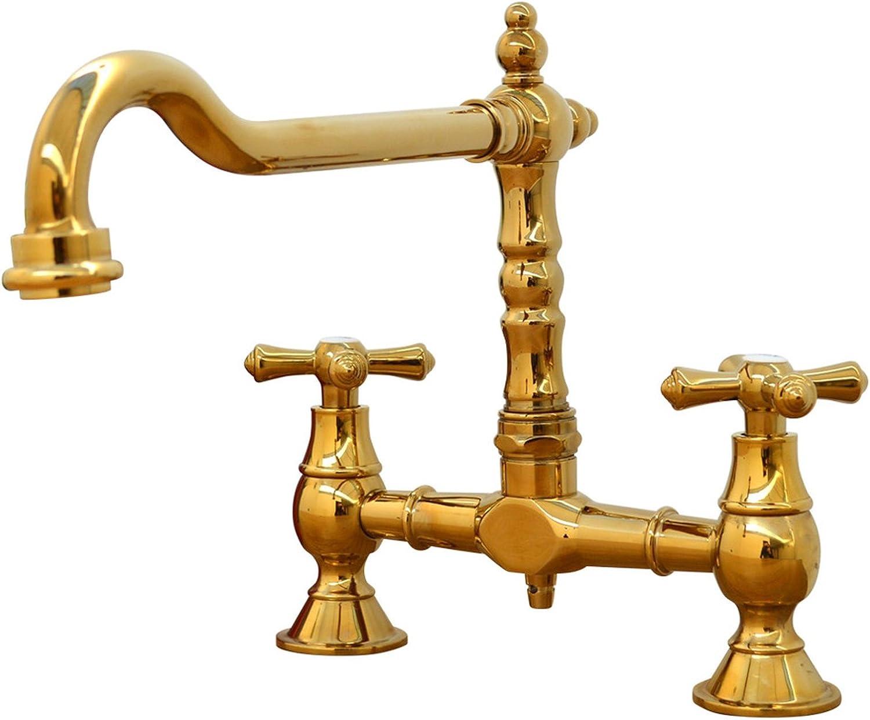 ENKI Traditional Colonial Bridge Kitchen Sink Mixer Tap Cross Knobs Handles gold LANGLEY