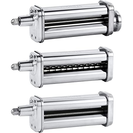 Pasta Maker Attachments Set for all KitchenAid Stand Mixer, including Pasta Sheet Roller, Spaghetti Cutter, Fettuccine Cutter by Nevku