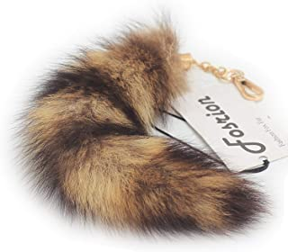 10 inches Authentic America Raccoon Tail Fur Skin Cosplay Toy Handbag Accessory Key Chain Ring Hook (Dark)