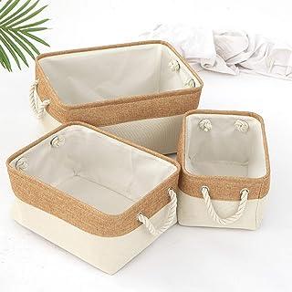 CNYG Boîte de Rangement Pratique Tiroir en Tissu Panier Stockage de Bureau de Coton Pliable Organisateur pour Maquillage e...