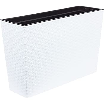 Lamela - Jardinera werbena Rattan 19x56x36.5h cm Blanco e5
