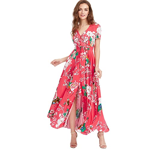 3e5c9a83a95c Milumia Women s Button up Split Floral Print Flowy Party Maxi Dress