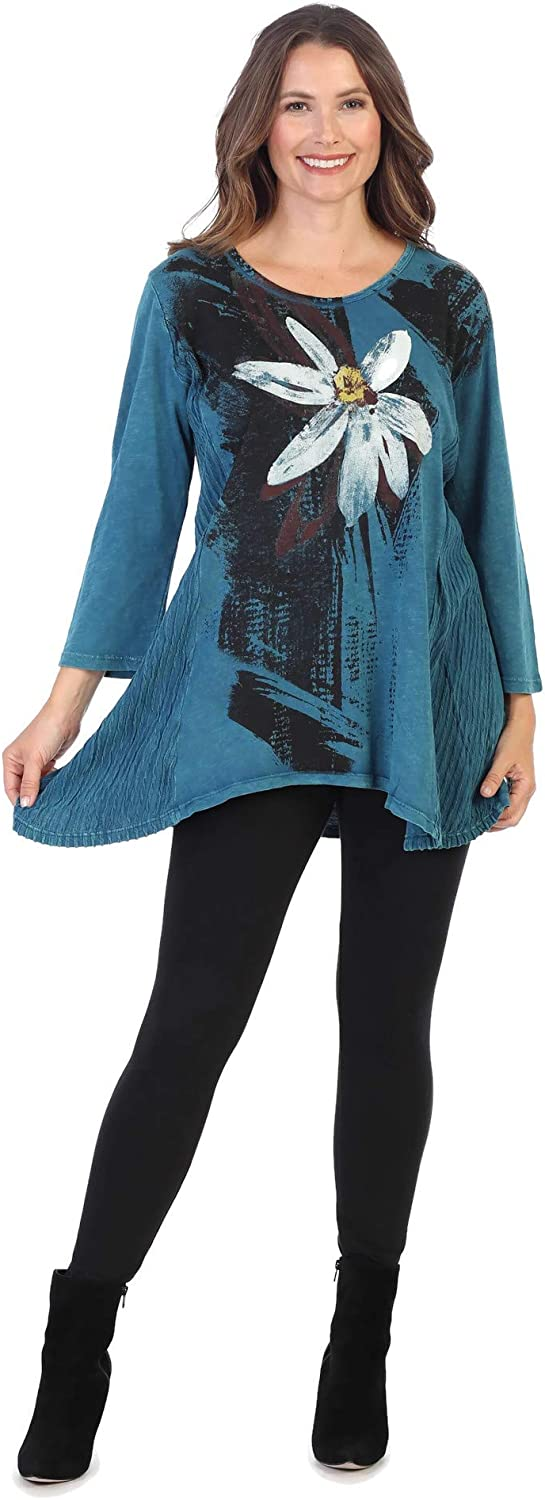 Jess & Jane Women's Linda Contrast High Low Mineral Washed Cotton Tunic