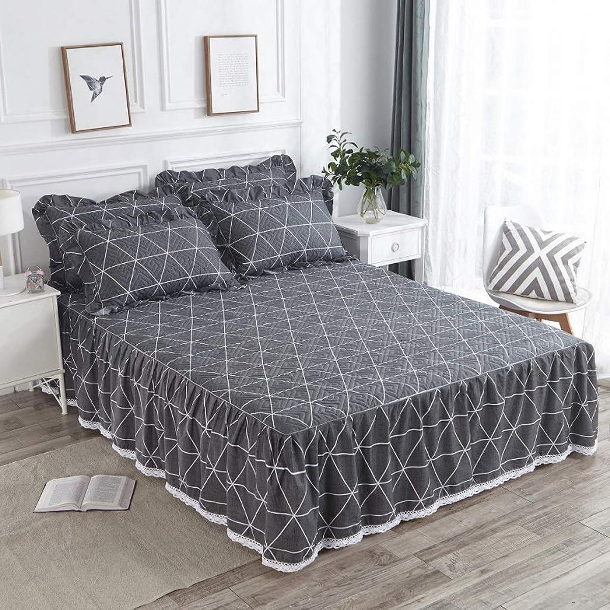 表示脈拍プリーツコットンのベッドスカート豪華なプレミアム品質しわと退色耐性マイクロファイバーマルチフリル滑り止め保護ケース - ほこりを追加 (色 : P, サイズ さいず : 180x200cm)