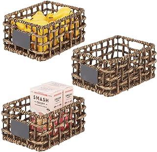 mDesign Panier de Rangement pour Placard ou étagère (Lot de 3) – Organiseur de Placard en Jacinthe d'eau avec étiquette – ...