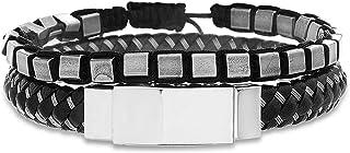 Steve Madden Oxidized Stainless Steel Square Beaded Black Woven Leather Stackable Bracelet for Men