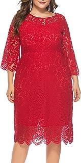 FEOYA - Mujer Vestido de Noche Encaje Cuello Redondo para Ceremonia Boda Banquete Falda Larga de Fiesta con Manga 3/4 Tall...