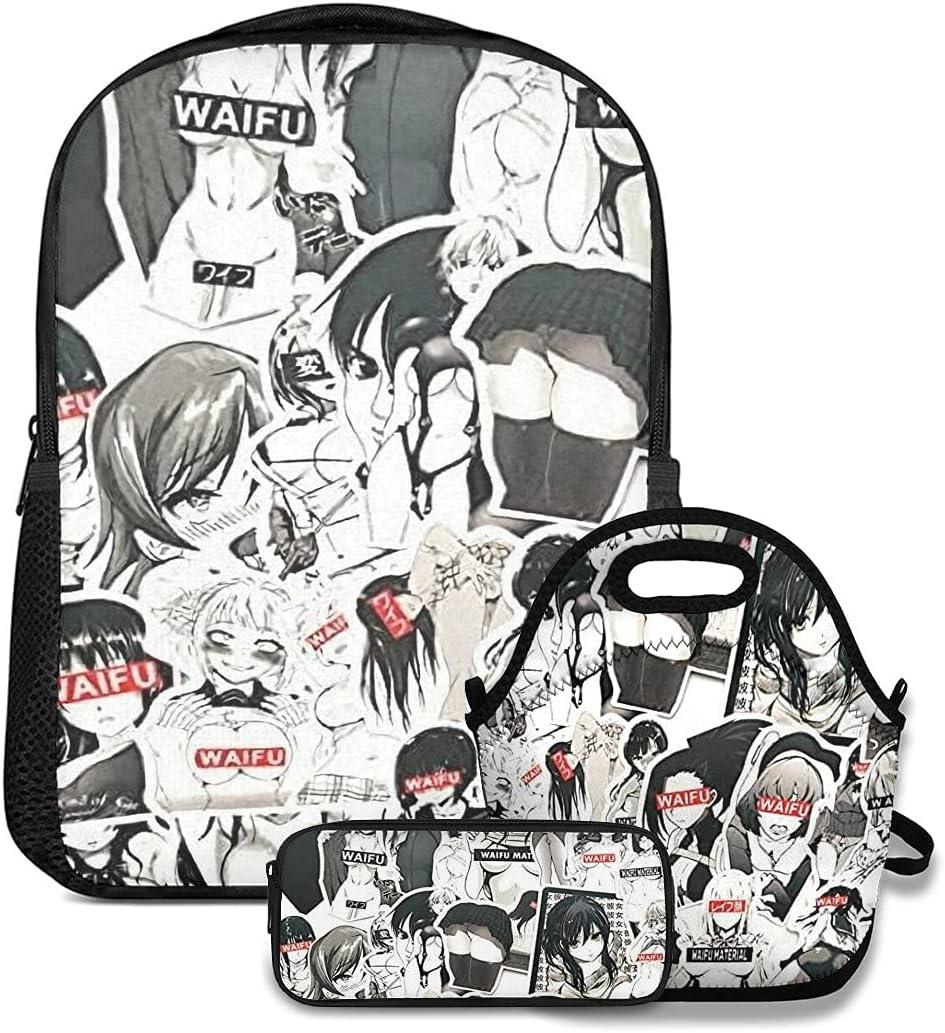 Ahegao Hentai Anime Waifu Backpack Bags Insulate Charlotte Mall Portable School Max 82% OFF