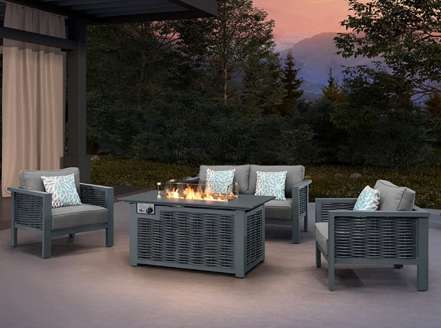 KUMMA 4-Piece High Max 79% OFF quality new Rattan Patio Conversation Furniture Set with Luxry