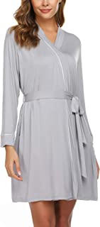 Womens Robe Cotton Lightweight Robe Short Knit Bathrobe Soft Sleepwear