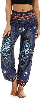 Nuofengkudu Dam hippie thai-byxor boho vintage mönstrad smockad midja med fickor lätta yogabyxor
