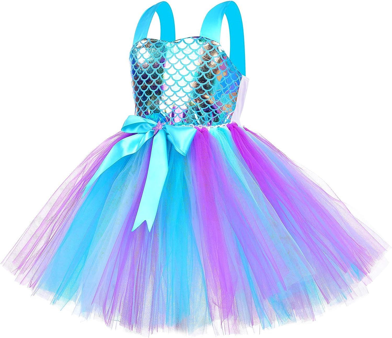 Tutu Dreams Glitter Mermaid Dress for Girls with Headband Halloween Birthday Party