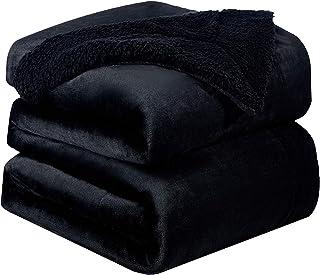 Bedsure Sherpa Fleece Blanket King Size(Not Electrical) Black Plush Blanket Fuzzy Soft Blanket Microfiber