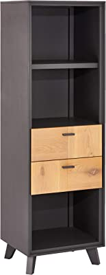 Ibbe Design Bücherregal Regal Massiv Eiche Holz Grau Lackiert MDF Sentosa mit 2 Schubladen und 3 Regale, 52x43x168 cm