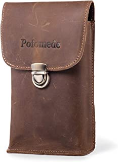 Pofomede Leather Phone Holster Belt Case Holder Compatible iPhone Xs Max XS 8 7 Plus Belt Holster Vertical Belt Clip Case Men Carrying Case Belt Loop Pouch Cell phone Holsters Waist Pouch Sleeve Brown